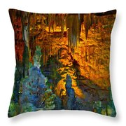 Devils Cavern Bari Greece Throw Pillow