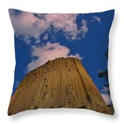 Devils Tower As A Volcano Throw Pillow