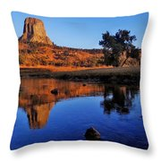 Devils Tower Morning Throw Pillow