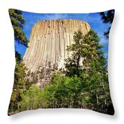 Devil's Tower Through The Trees Throw Pillow