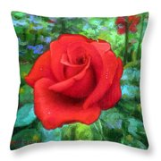 Dew Soaked Rose Throw Pillow