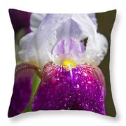 Dewy Iris Throw Pillow