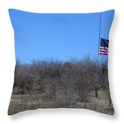 Dfw National Cemetery Flag On The Hill Throw Pillow