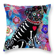 Dia De Los Muertos Pug Throw Pillow