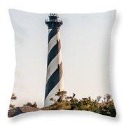 Diagonal Black And White Stripes Mark The Cape Hatteras Lighthou Throw Pillow
