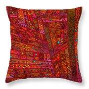 Diagonal Tiles In Reds Throw Pillow