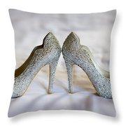 Diamante Wedding Shoes Throw Pillow