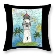 Diamond Head Lighthouse Hi Nautical Chart Map Art Throw Pillow