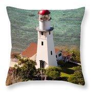 Diamond Head Lighthouse Honolulu Throw Pillow