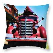 Diamond T Truck - Tomato Red Throw Pillow