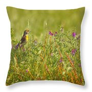 Dickcissel And Flowers Throw Pillow