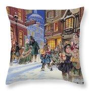 Dickensian Christmas Scene Throw Pillow by Angus McBride