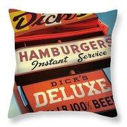 Dick's Hamburgers Throw Pillow by Jim Zahniser