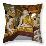 different sitting Buddhas in a circle in SHWEDAGON PAGODA Throw Pillow