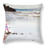 Digging In The Sand Throw Pillow