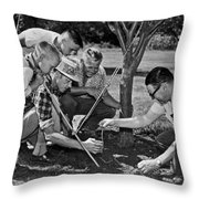 Digging Worms For Fishing Throw Pillow