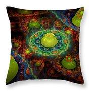 Digital Abstract Fractal Flame Art Throw Pillow
