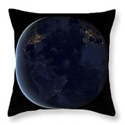 Digital Composite Of Earths City Lights Throw Pillow