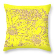 Digital Cone Flowers Drawing Throw Pillow