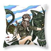 Digital Dragon Rider Colour Version Throw Pillow