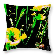 Digital Green Yellow Abstract Throw Pillow
