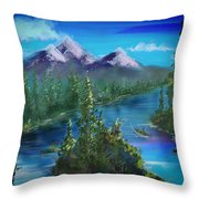 Digital Mountains Throw Pillow