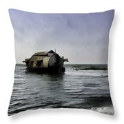 Digital Oil Painting - A Houseboat Moving Placidly Through A Coastal Lagoon Throw Pillow