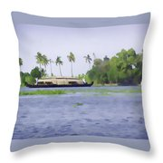Digital Oil Painting - A Houseboat On Its Quiet Sojourn Through The Backwaters Of Allep Throw Pillow
