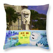 Digital Oil Painting - Statue Of The Merlion With A Banner Throw Pillow