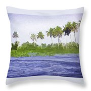 Digital Oil Painting - Water Rippling In The Coastal Lagoon Throw Pillow