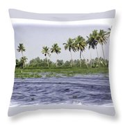 Digital Oil Painting - Water Rippling In The Coastal Lagoon Due To The Boat Throw Pillow