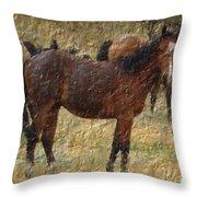 Digital Oil Painting Horses Throw Pillow