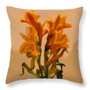 Digital Painting Lily Like Throw Pillow