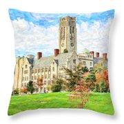 Digital Painting Of University Hall Throw Pillow