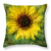Digital Painting Series Sunflower Throw Pillow