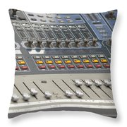 Digital Sound Mixing Console Closeup Throw Pillow