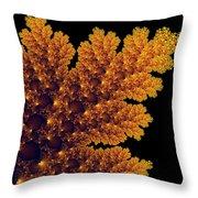 Digital Warm Golden Fractal Leaf Black Background Throw Pillow