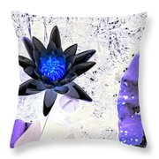 Digitally Altered Water Lily Throw Pillow