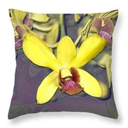 Digitised Orchids Throw Pillow