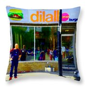 Dilallo Burger Notre Dame Ouest And Charlevoix  Montreal Art Urban Street Scenes Carole Spandau Throw Pillow