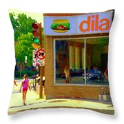 Dilallo Notre Dame Ouest And Charlevoix Sunny Street Montreal Urban City Scene Carole Spandau Throw Pillow