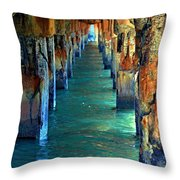Dilapidated Dock Throw Pillow