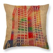 Dime Building Iconic Buildings Of Detroit Watercolor On Worn Canvas Series Number 1 Throw Pillow