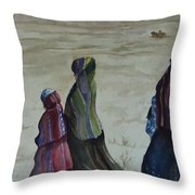 Dineh Leaving The Trading Post Throw Pillow