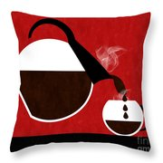 Diner Coffee Pot And Cup Red Pouring Throw Pillow