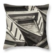 Dinghies Dockside Bw Throw Pillow