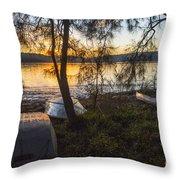Dinghies On Shoreline Throw Pillow