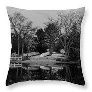 Dinghies Resting Tide Creek Black And White Throw Pillow