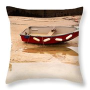 Dinghy At Low Tide In St Ives Cornwall Throw Pillow