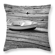 Dinghy At Low Tide Throw Pillow
